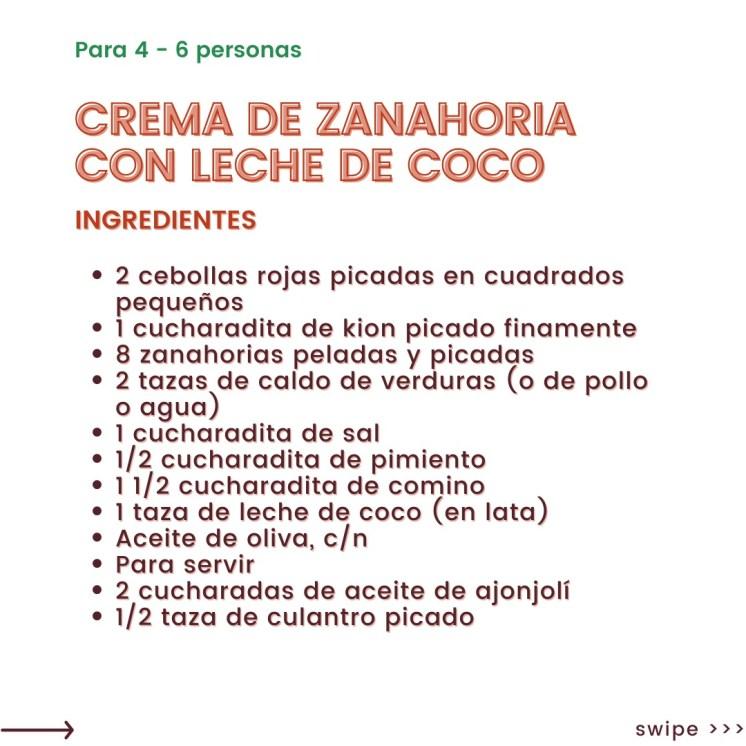 Crema de zanahoria y leche de coco súper fácil
