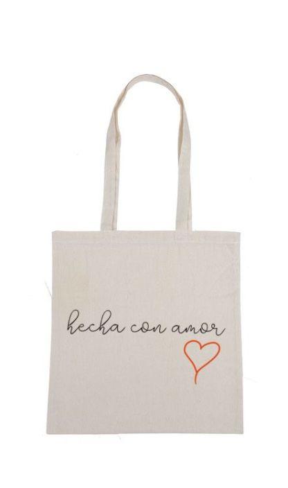 hecha con amor bolsa de tela ecologica algodon reutilizable no mas plasticos. bolsa ilustrada. regalos originales y ecologicos.