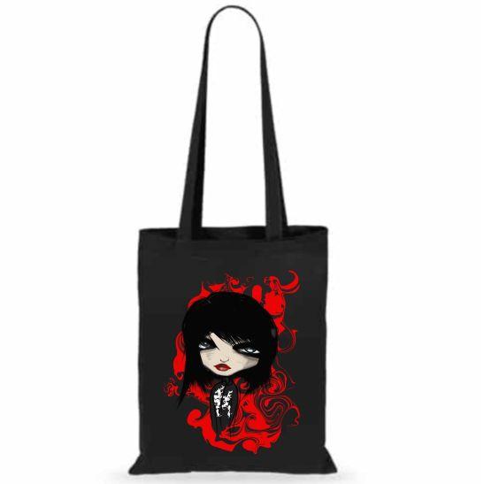 bolsa de tela gotica negra ilustracion dark gotico negro moda gotica punk rock mujer regalos unicos y originales