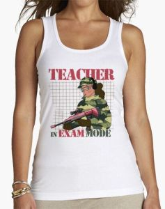 TEACHER in exam mode camiseta profesora chica manga corta tank top camisetas humor camisetas divertidas