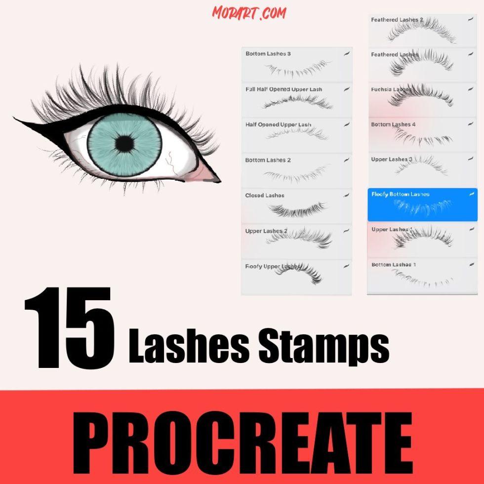 Procreate lashes stamps bushes pinceles para procreate