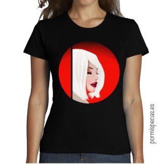 camiseta chica red ilustracion chica pelo blanco labios rojos comprar camisetas bonitas y baratas diseño original pormispecas