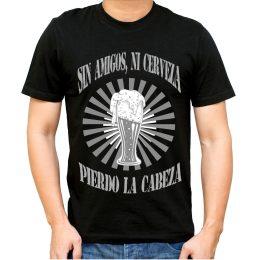camiseta humor divertida original chico chica sin amigos ni cerveza pierdo la cabeza