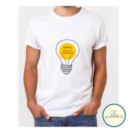 camiseta hombre minimalista diseño bombilla idea marketing ingenieria