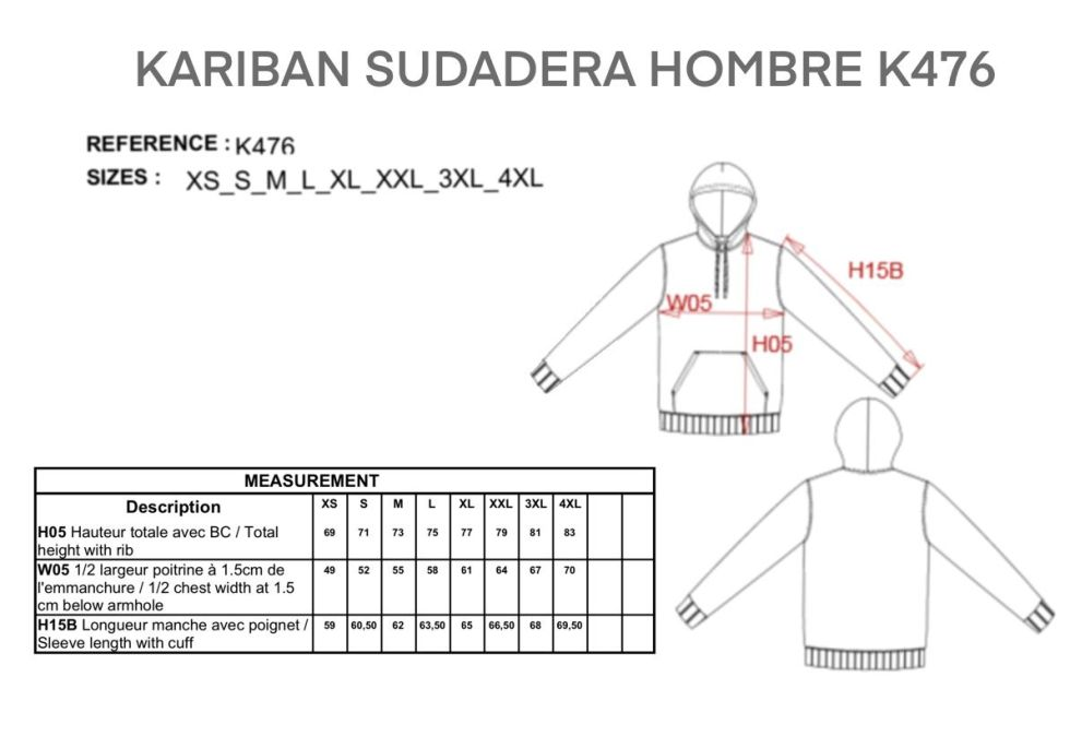 TABLA TALLAS MEDIDAS HOMBRE SUDADERA K476