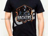 Camiseta hombre hackers color negro