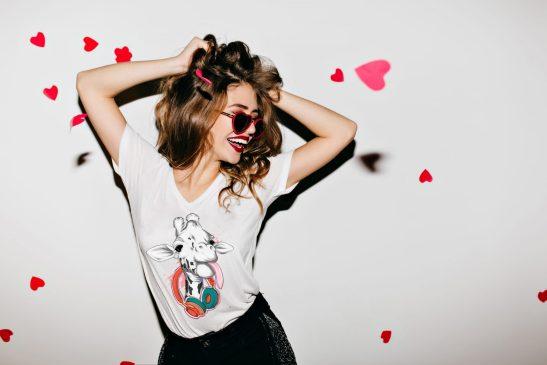 jirafa hipster camiseta mujer cuello v bonita