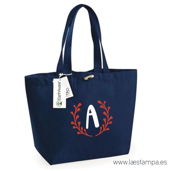bolsa de tela orgánica personalizada con inicial