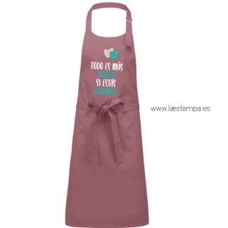 delantal cocina todo es mas bonito si estas conmigo