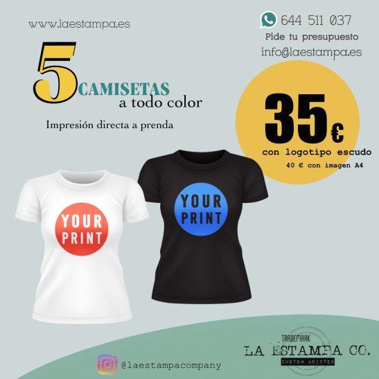 oferta 5 camisetas impresion directa a prenda en varios tamaños