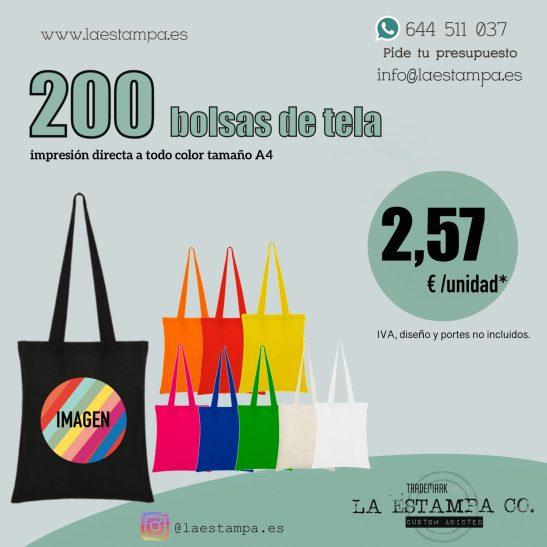 200 bolsas de tela estampadas con impresion directa