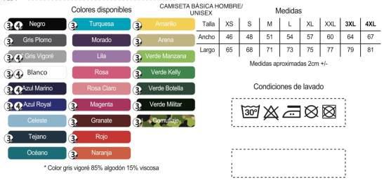 camiseta basica HOMBRE tabla colores
