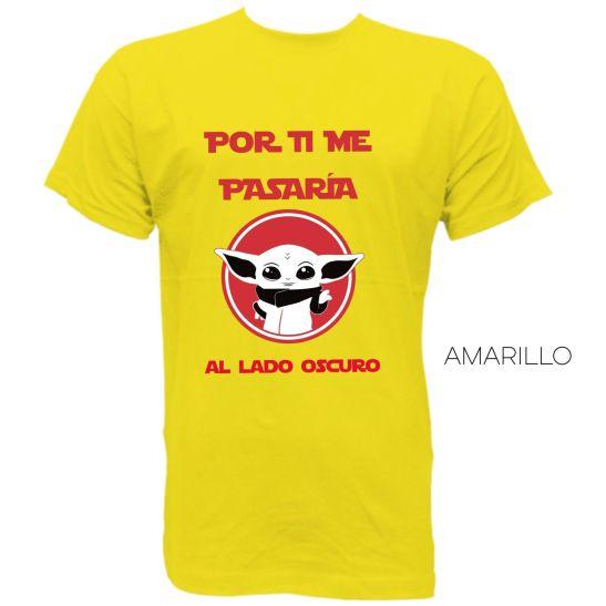 por ti me pasaría al lado oscuro camiseta hombre mini yoda amarillo
