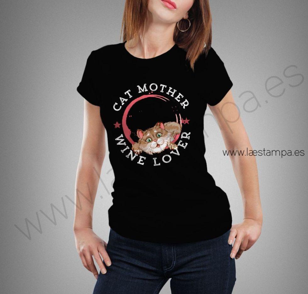 camiseta mujer cat mother wine lover entallada manga corta cuello redondo negra