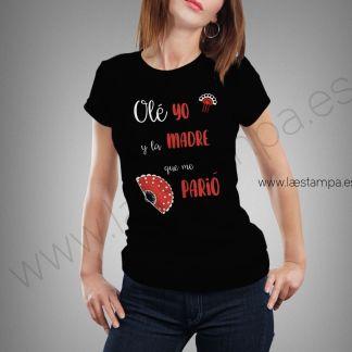 ole yo y la madre que me parió camiseta para mujer manga corta negra cuello redondo