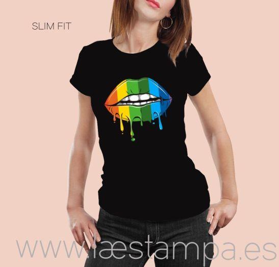 camiseta unisex multicolor lips entallada