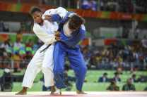 BARRA DA TIJUCA, RIO DE JANEIRO, BRAZIL AUGUST 10th: Maria Perez of Puerto Rico againts Yuri Alvear of colombia during the Judo fight as part of the Olympic Games held in Carioca Arena 2 in Barra Da Tijuca, Rio de Janeiro, Brazil. (PHOTO BY VICTOR STRAFFON/STRAFFON IMAGES/MANDATORY CREDIT/EDITORIAL USER/NOT FOR SALE/NOT ARCHIVE)