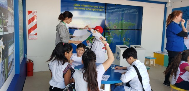 Exposición de refugiados parque olímpico.