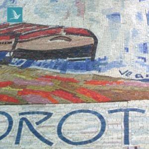 détail de la mosaïque de Port Marly, reproduction de l'oeuvre de Vlaminck par Laetitia Gauthier, mosaïste d'art