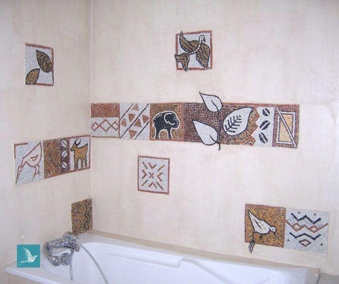 mosaique de salle de bains, en marbres : safari, inspiration art africain