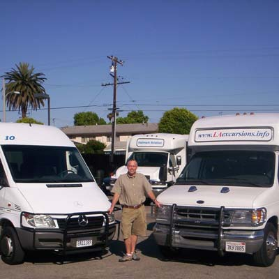 Marc with a Sprinter MicroBus and Krystal MiniBus.