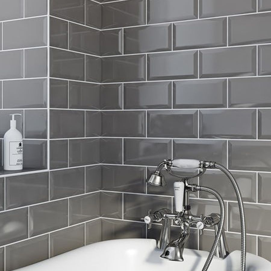 this ceramic metro dark grey tile is for bathroom walls or kitchen walls