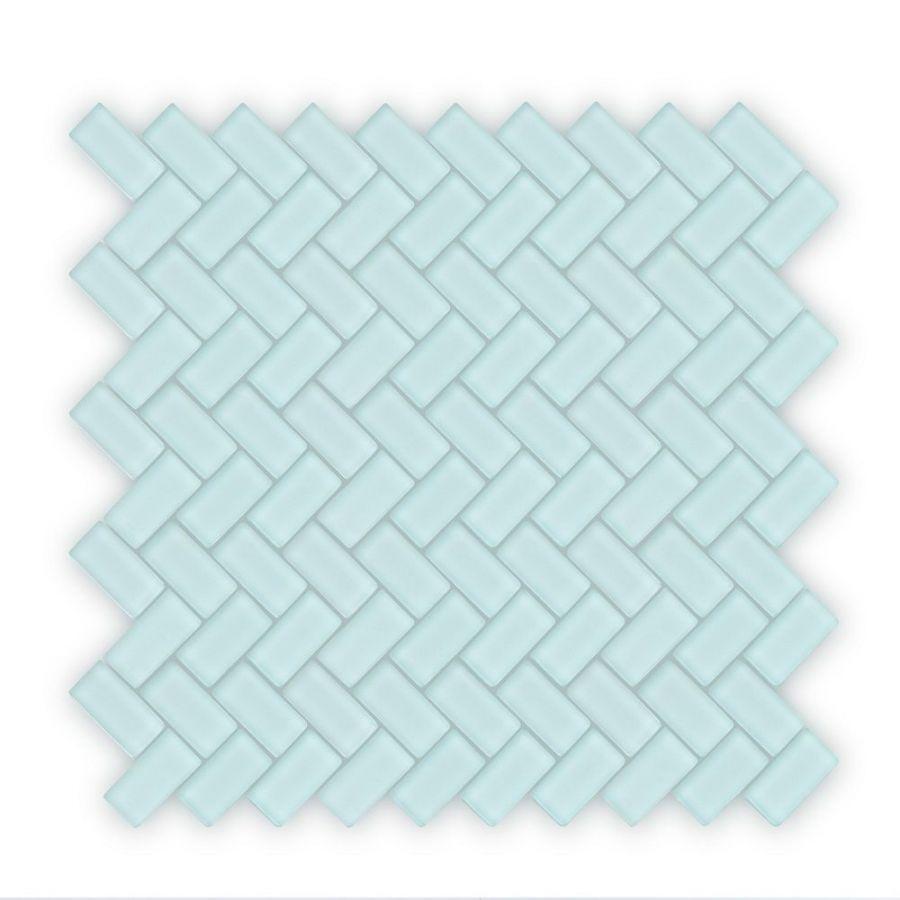 auroras herringbone 2 green mosaic tile