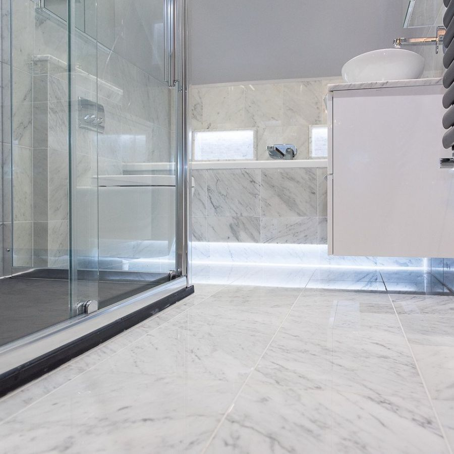 carrara bianco honed marble tile is perfect for bathrooms or kitchens
