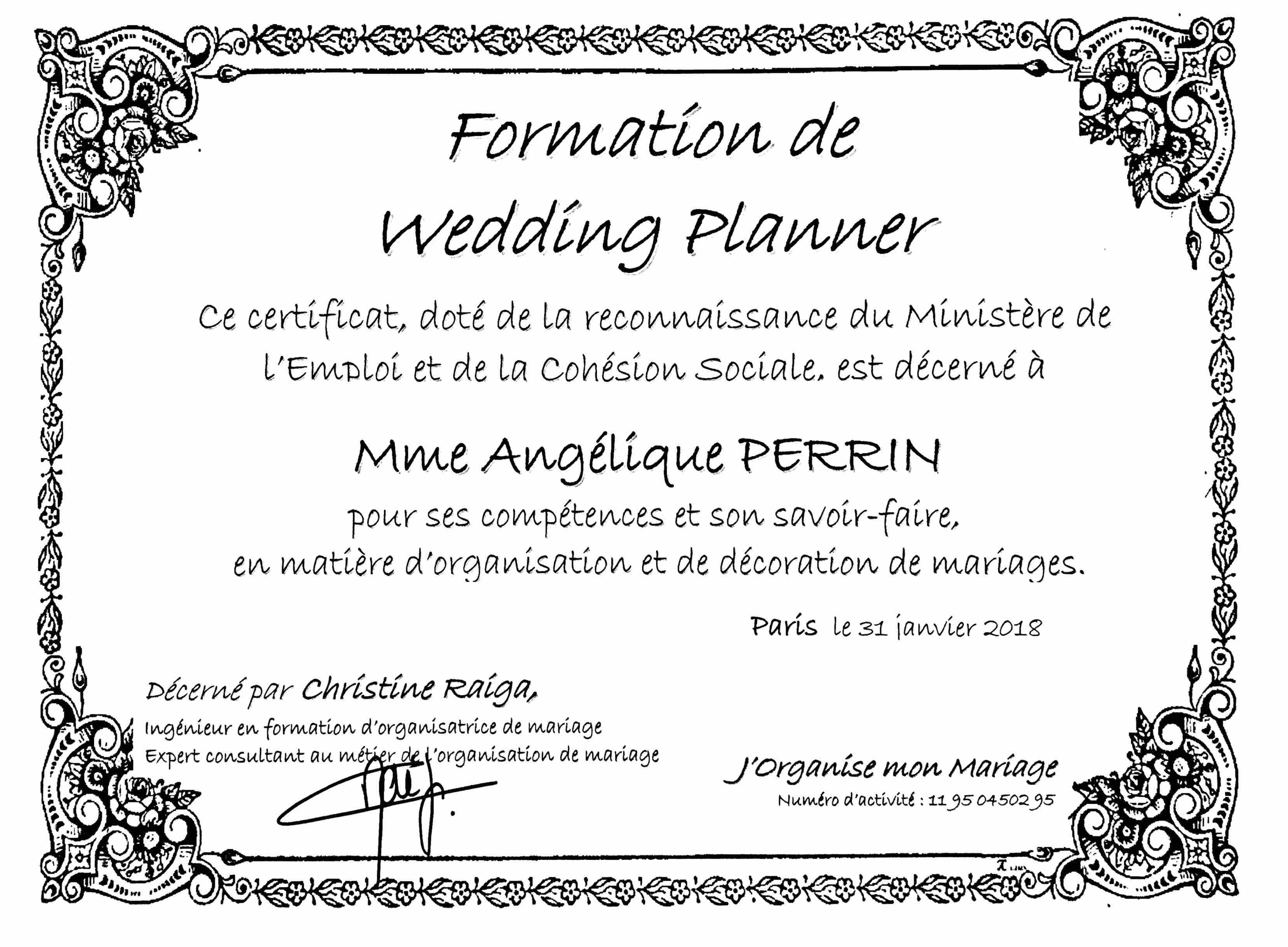 Diplome de formation de wedding planner