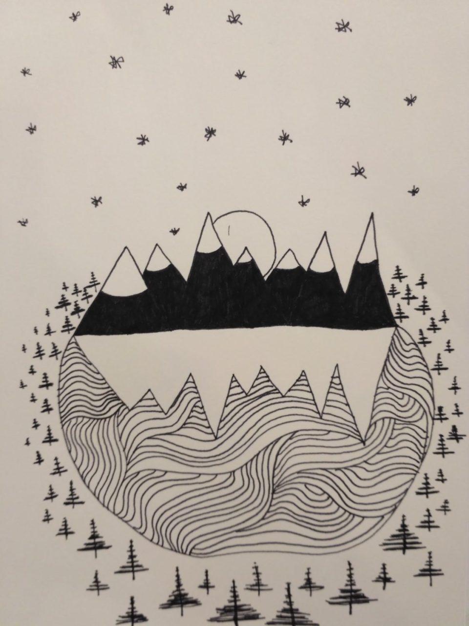 Inktober-les-étoiles-sur-la-montagne
