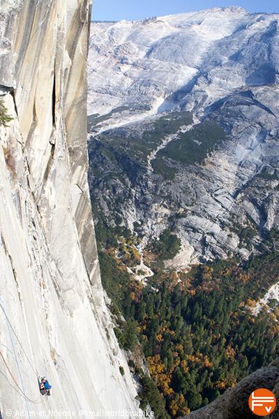 a climber on a huge vertical face - Remplacement bolt