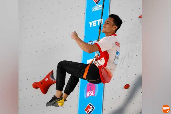 Leonardo Veddriq speed climbing