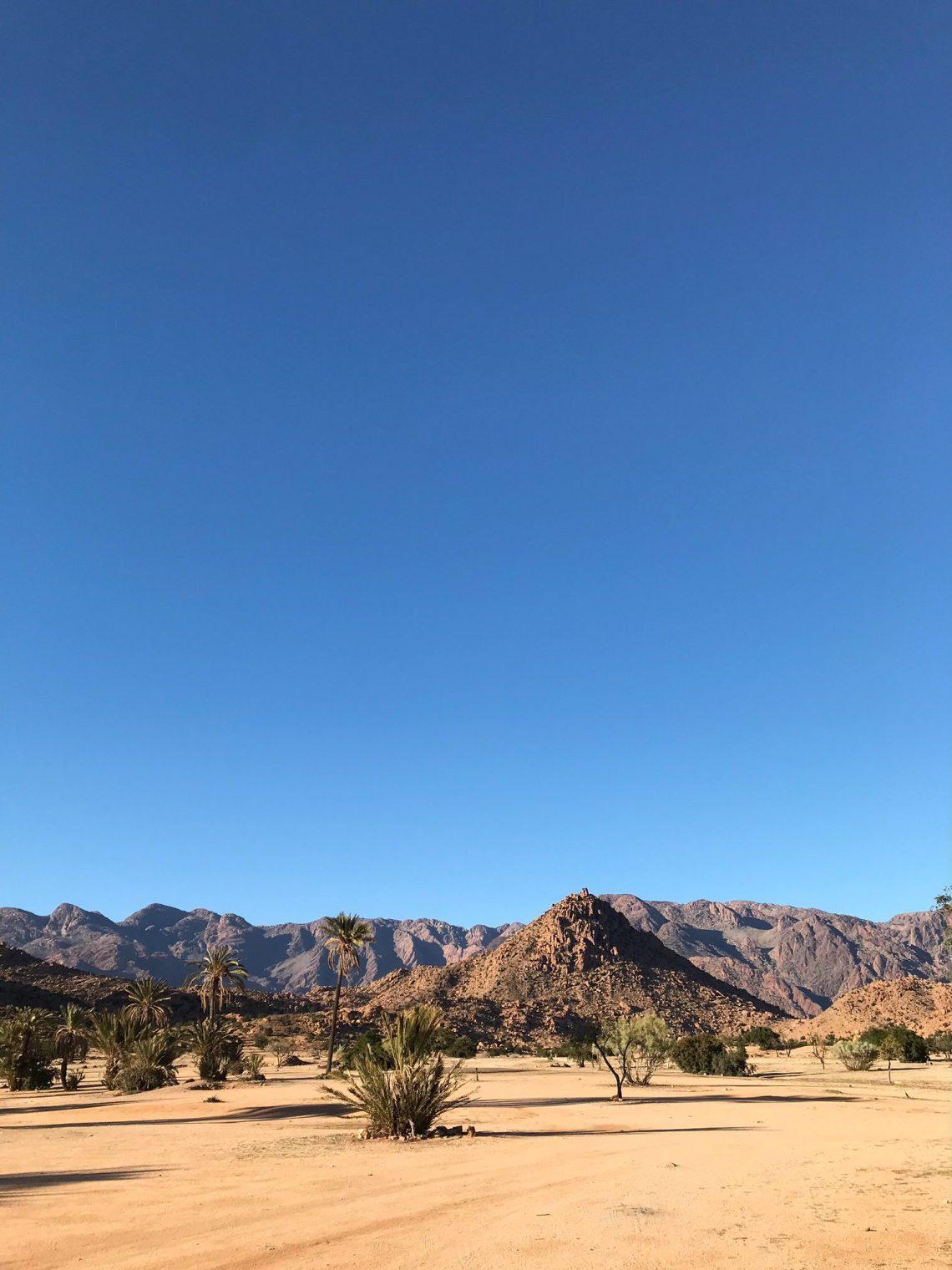 Voyage au Maroc vue sur les montagnes autour de la palmeraie de Tafraout
