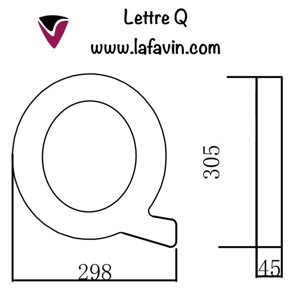 Lettre Q Dimensions