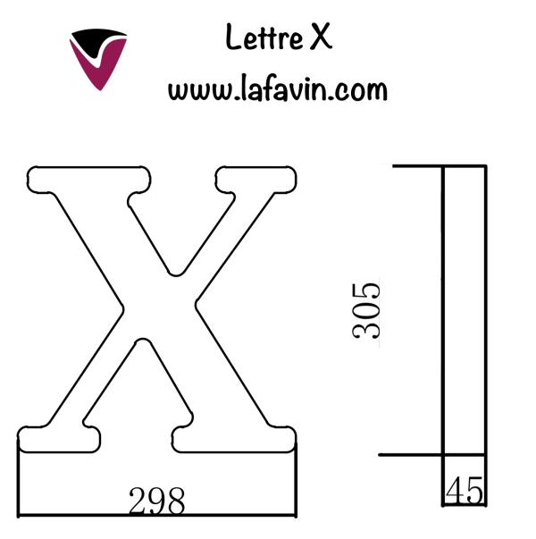 Lettre X Dimensions