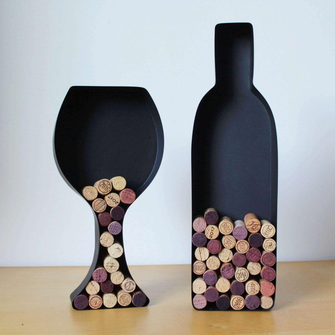 Bouteille verre de vin support bouchon