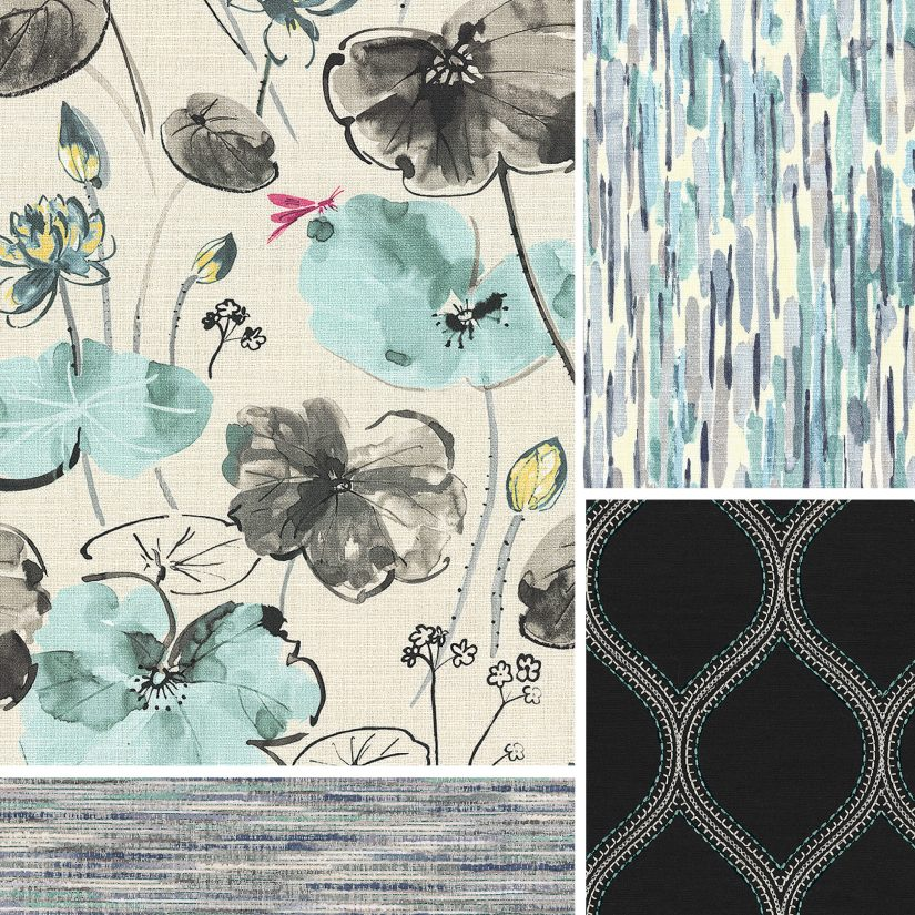 Water color aqua and black floral scene pairs with blue hues and textures.