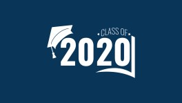Class of 2020. White number, education academic cap and open book on blue background. Template for graduation design frame, high school, college congratulation graduate, yearbook. Vector illustration.