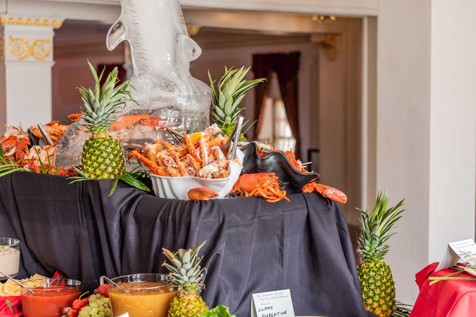 Corporate Party Crab Legs & Lobster Tail spread - served up on the 2nd floor Grande Ballroom.