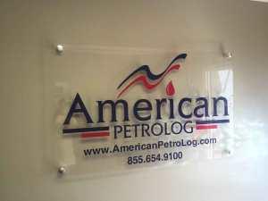 acrylic sign with vinyl logo