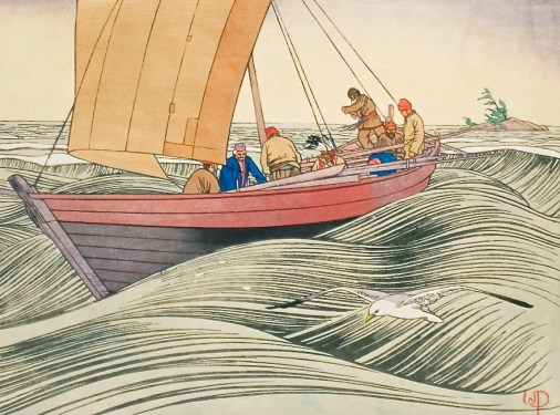 York Boats on Lake Winnipeg by Walter J. Phillips
