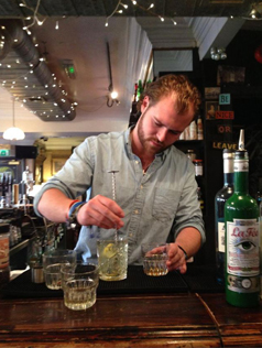 Cocktail being made using La Fée absinthe