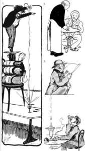 Cartoon of man pouring water onto absinthe from a step ladder
