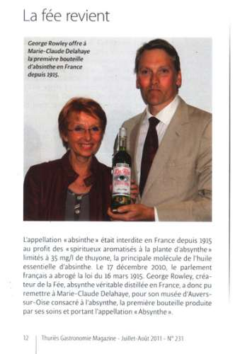 George Rowley & Marie-Claude Delahaye article in Gastronomie magazine