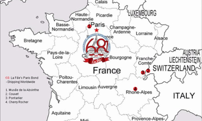 Map of France with La Fée 68% Logo