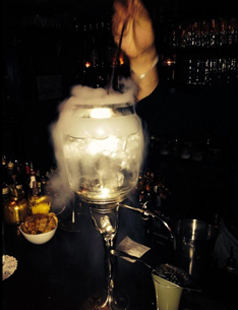 La Fée absinthe fountain with dry ice