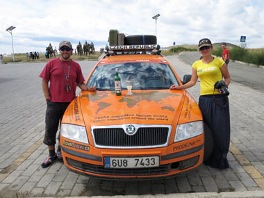 La Fée on bonnet of Skoda in Mongolia