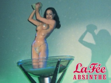 Dita Von Teese in glass on La Fée Absinthe
