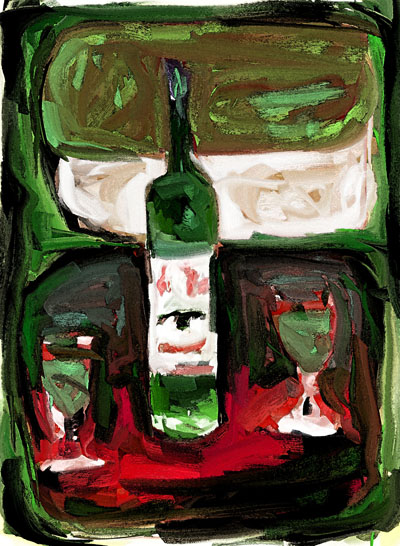 'First Bottle' by Leif Rogers painting of bottle of La Fée Absinthe with two glasses