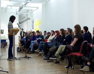 Group at Samuel hasler talk, sponsored by La Fée absinthe